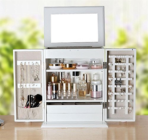 (LUCKYYAN Fashion Wooden White Large Jewelry Storage Cabinet Desktop Dressing Table Finishing Box with Mirror)