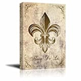 wall26 Canvas Wall Art - Fleur De Lis Flower on Vintage Abstract Background - Gallery Wrap Modern Home Decor | Ready to Hang - 24x36 inches