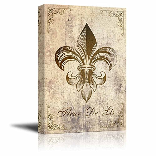 Fleur De Lis Flower on Vintage Abstract Background