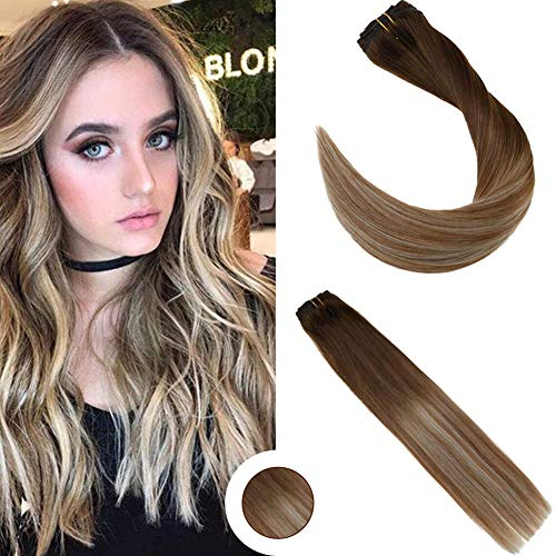 Ugeat 14inch Clip in Extensions Ombre Remy Human Hair Full Head Clip on Hair Balayage Dark Brown Fading to Medium Brown with Bleach Blonde Clip in Hair Extensions 120Gram (Dying Hair Dark Brown To Light Brown)