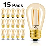 Hizashi 15 Pack 2W Dimmable LED S14 2200K Warm Filament Bulbs Medium Base (E26), Outdoor Amber Edison Bulbs, 25W Equivalent, Outdoor String Lights Bulbs Replacement, UL Listed