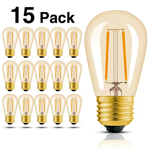 Amber Chandelier Incandescent (Hizashi 15 Pack 2W Dimmable LED S14 2200K Warm Filament Bulbs Medium Base (E26), Outdoor Amber Edison Bulbs, 25W Equivalent, Outdoor String Lights Bulbs Replacement, UL Listed)