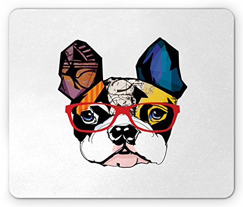 (Printawe Art Mouse Pad, French Bulldog Portrait with Hipster Glasses Abstract Modern Colorful Ears and Eyes, Standard Size Rectangle Non-Slip Rubber Mousepad,)