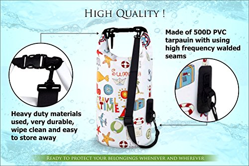 NVcompany Waterproof Bag - Dry Bag Kayaking and Camping 10L Roll Top Keeps Your Gear Dry While Rafting Boating at Beach and Hiking by NVcompany (Image #2)