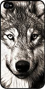 Grey Wolf- Hard Black Plastic Snap - On Case-Apple Iphone 4 - 4s - Great Quality!