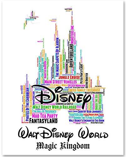 Walt Disney World Castle - 11x14 Unframed Word Art Print - Great Gift for Disney Fans