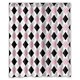Black White and Pink Shower Curtain For Elegance Bathroom ( Black / Pink / White ) Argyle Patterns Shower Curtain - 60