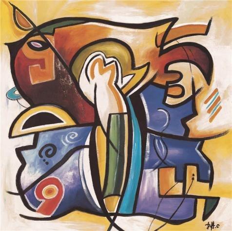 The Perfect Effectキャンバスの油絵` Modernキャンバス抽象画の図」、サイズ: 10x 10インチ/ 25x 26cm、このBest Priceアート装飾キャンバスプリントは、フィットのバー装飾装飾、ギフト