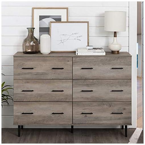 Bedroom Walker Edison Mila Modern 6 Drawer Storage Buffet, 52 Inch, Grey Wash dresser