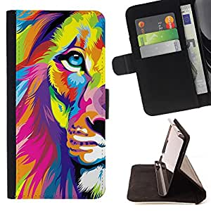 Dragon Case- Caja de la carpeta del caso en folio de cuero del tir¨®n de la cubierta protectora Shell FOR Samsung Galaxy S5 V SM-G900 G9009 G9008V- Lion Heart Patter