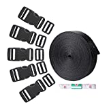 #5: Webbing,10 Yards 1 Inch Webbing Strap with 15 Set Flat Side Release Buckles and 15 Pack Tri-Glide Slides 1pc Tape Measure for Backpack Luggage DIY Gear Repair