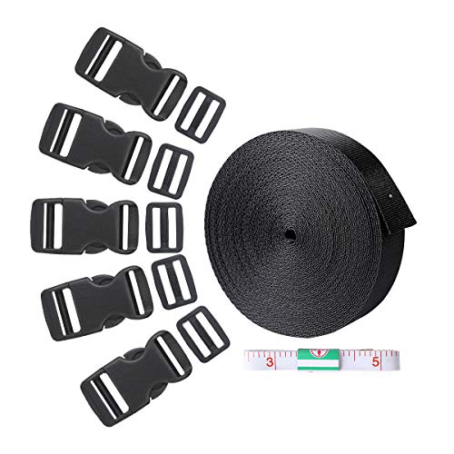 Webbing,10 Yards 1 Inch Webbing Straps Heavy Duty Poly Strapping with 15 Set Flat Adjustable Side Release Plastic Buckles and 15 Pack Tri-glide Slides and 1 Tape Measure for Backpack Luggage DIY Gear ()