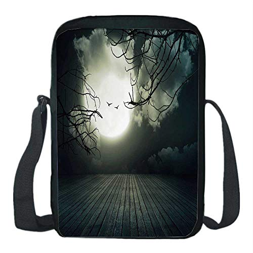 Halloween Print Kids Crossbody Messenger Bag,Wooden Planks Floor with Leafless Branches and Blurred Full Moon Mysterious Decorative for Boys,9''H x 6''L x 2''W -