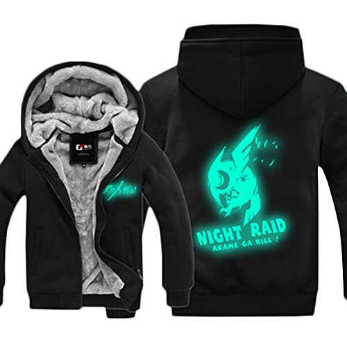 Rain's Pan Anime Akame Ga Kill Night Raid Luminous Thicken Fleece Hoodies Sweatshirts Coat (US XL=Asia 3XL, black 2) - Raid Sweatshirt