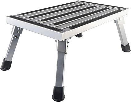 Plataforma de escalón plegable para caravana, portátil, de aleación de aluminio, antideslizante, de seguridad, para remolques de autocaravana, SUV: Amazon.es: Oficina y papelería