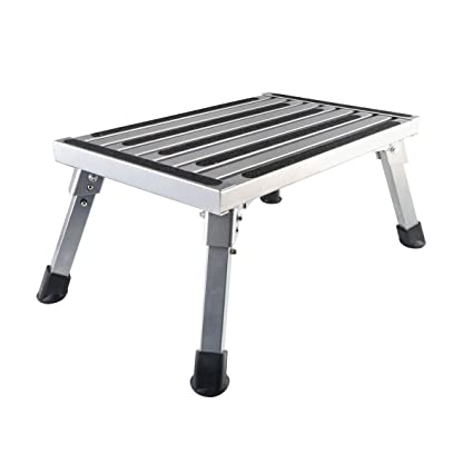 Sensational Gimify Rv Steps Stool Folding Platform Stepping Stool Sturdy Aluminum Ladder With Non Slip Rubber 450Lb Capacity For Motorhome Trailer Machost Co Dining Chair Design Ideas Machostcouk