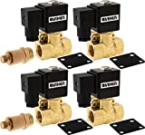 Vixen Air 1/2'' NPT Air Ride Suspension High Flow Electric Air Valve (Solenoid) 250 PSI (4-Pack) with Two 1/2'' Flow/Dump Control Valves VXF4012M-4