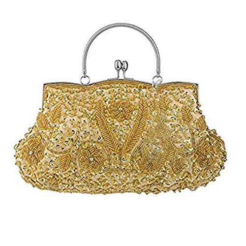 (Bagood Women's Vintage Style Beaded Sequined Evening Bag Wedding Party Handbag Clutch Purs)