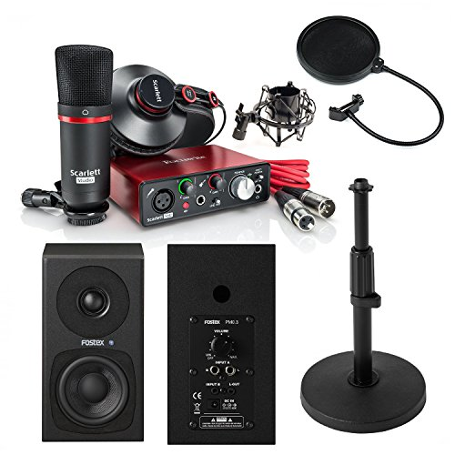Focusrite Scarlett Solo Studio (2nd Gen) USB Audio Interface and Recording Bundle with Pro Tools | First with Fostex PMPM0.3D Monitor Speakers and More