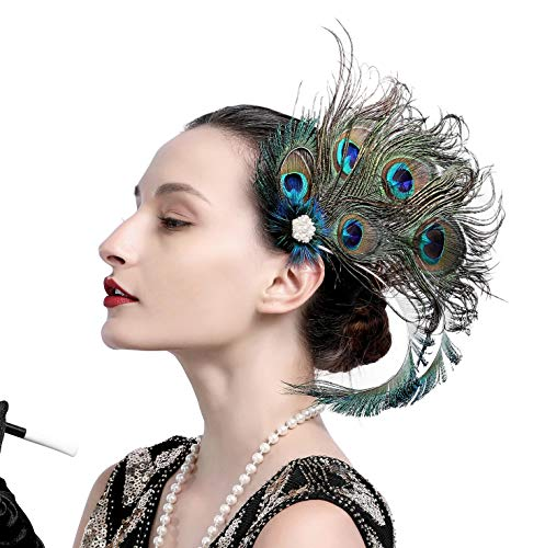 Zivyes 1920s Peacock Feather Costume Hair Clip Flapper Headpiece Hat Accessory -