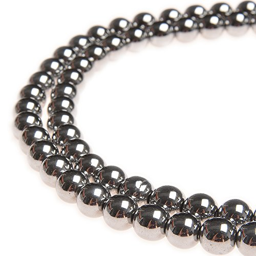 - PLTbeads 8mm Hematite Silver Plated Gemstone Round loose Beads Approxi 15.5 inch 48pcs 1 Strand per Bag for Jewelry Making Findings Accessories