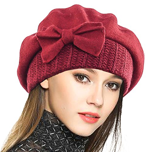 a6cabbce78c VECRY Lady French Beret 100% Wool Beret Floral Dress Beanie Winter Hat