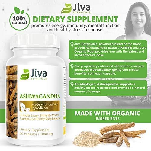 Ashwagandha Organic Capsules (1080 mg) – by JIVA BOTANICALS – ksm-66 Ashwagandha [ Advanced Absorption Aswaghanda Capsules] - 60 Capsules