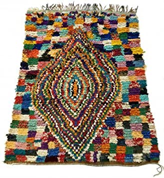 Tapis Marocain Trendcarpet Berbere Boucherouite 200 X 165 Cm Amazon