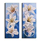 HSRG 2 Piece Wall Art Clock Flower Painting On Canvas Modern Print Wall Picture for Living Room Bedroom Wall Decor