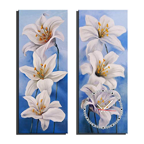 HSRG 2 Piece Wall Art Clock Flower Painting On Canvas Modern Print Wall Picture for Living Room Bedroom Wall Decor by HSRG (Image #3)
