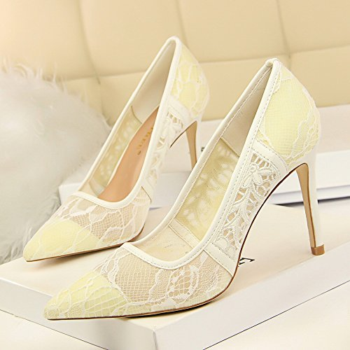 Mesh Shoes 2018 High heel Tip Spring Breathed Heel fine Women'S And Lace White Shoes Bridesmaids And ZHANGYUSEN Retro Summer 1YPqzzdw