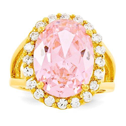 Jacqueline Kennedy Gold-Flashed Simulated Kunzite Ring - Size 7