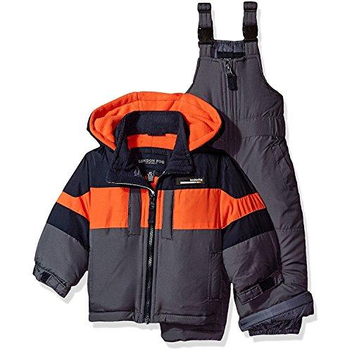London Fog Baby Boys 2-Piece Snow Bib and Jacket Snowsuit, Navy/Orange, 24M (Snowsuit Toddlers 2 Piece For)