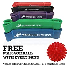 Pull Up Assist Bands - Mobility Bands for Stretching, Weightlifting and Chin Up - Resistance Bands Crossfit by Warrior Built Sports - Single Band - FREE Foot Massage Ball with Every Band! ($10 Value)