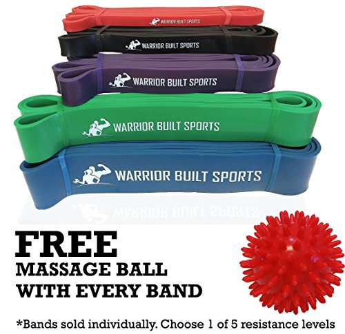 Pull Up Assist Bands - Mobility Bands for Stretching, Weightlifting and Chin Up - Crossfit Resistance Bands by Warrior Built Sports - Single Band - FREE Foot Massage Ball with Every Band! ( Value)