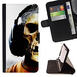 DEVIL CASE - FOR Sony Xperia Z1 L39 - Skull Headphones Music Art Skeleton Man - Style PU Leather Case Wallet Flip Stand Flap Closure Cover