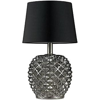SH Lighting 6738BK Chrome Faux Crystal Spiral Table Lamp