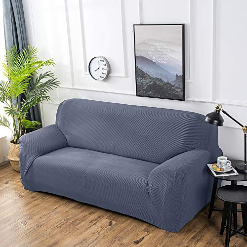Hengwei Sectional Sofa Cover Stretch Couch Slipcover 1 Pcs DIY (Buy 2/3 for L / U Shape Sofa)-Soft Polyester Fabric Form Fit Furniture Protector for Kids Pets Home Gift(Grey,B-4 Seat 90-118in)