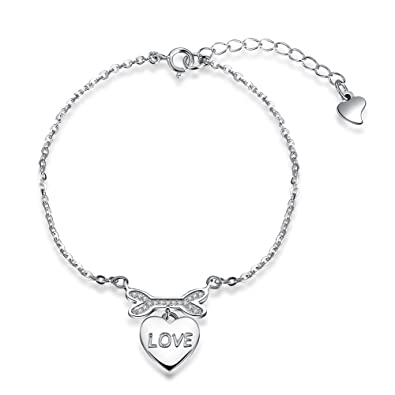 Image Unavailable. Image not available for. Color  Women Love Pendant Heart  925 Sterling Silver Bracelet Bangles Links d38193f1f