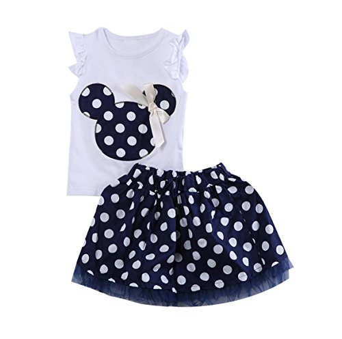 Mickey Mouse Costume Dancing (Rush Dance Happy Birthday Girl 2 Pcs Mickey Minnie Tutu Dress Petti Skirt Set (3T, Blue and White))