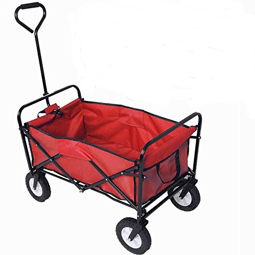 lunanice Collapsible Folding Wagon Cart Garden Buggy Shopping Beach Toy Sports Red New by lunanice