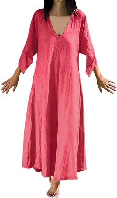 Vestido de algodón de Manga Larga para Mujer, Ropa de Playa de Lino de algodón con Escote en V Profundo Vestido Largo de Streetwear: Amazon.es: Ropa y accesorios