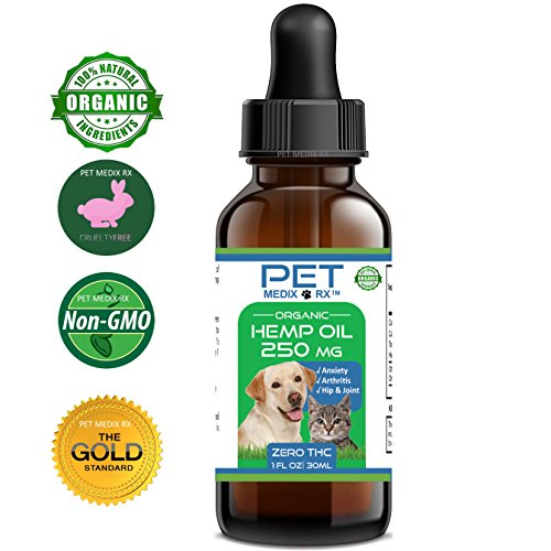Full Spectrum Hemp Oil for Dogs and Cats :: Hemp Extract :: 250 mg :: All Natural Pain Relief, Stress & Separation Anxiety, Joint Health - Easily Apply to Treats and Calming Chews Organic Hemp Medix
