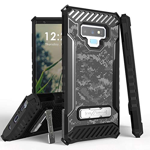Beyond Cell TriShield Series Compatible with Samsung Galaxy Note 9, Military Grade Drop Tested Shockproof Armor Stand Case and Atom Cloth - Digital Pixel Camo from Bemz Depot