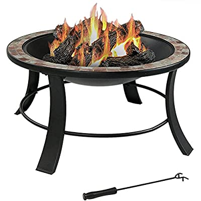Sunnydaze Natural Slate Outdoor Fire Pit with Spark Screen, Wood Burning Patio Firepit Bowl, 30 Inch