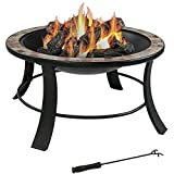 Cheap Sunnydaze 30 Inch Natural Slate Fire Pit Table with Spark Screen