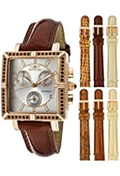 Invicta 10338 Women's Wildflower Classique Quartz Crystal Accented Red Watch w/ 7-Piece Leather Strap Set