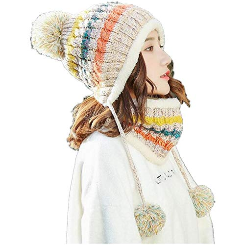 Sets Winter XIANGMAI Bufanda Female Mujeres Fashion Twinset Knitting Cap Winter Libre Cap Thick Mantiene Wool al Wool Beige Warm Thermal Aire tfqxfHwS