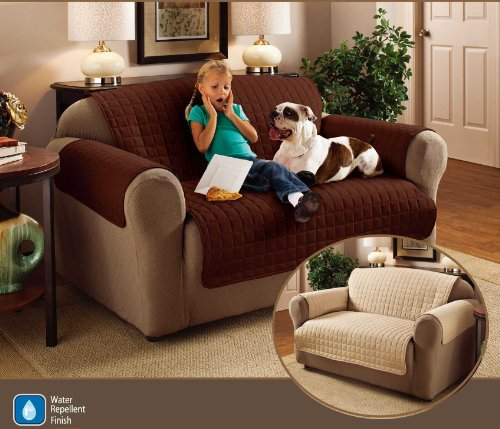 1 Seater 23 x 70.5 Chocolate Brown Quilted Sofa Protector Water Resistant Finish by Ashley Mills