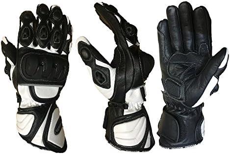 MBSmoto Guantes de piel con protecciones para motocicletas